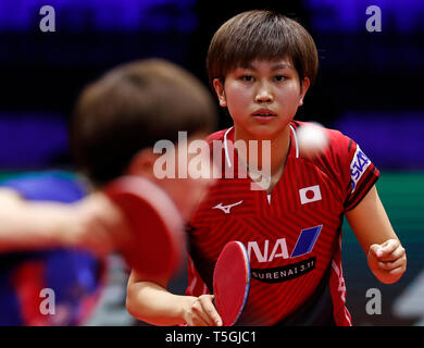(190425) -- BUDAPEST, April 25, 2019 (Xinhua) -- Hitomi Sato of Japan reacts during the women's singles round of 16 match against Wang Manyu of China at 2019 ITTF World Table Tennis Championships in Budapest, Hungary, April 24, 2019. (Xinhua/Han Yan) - Stock Photo