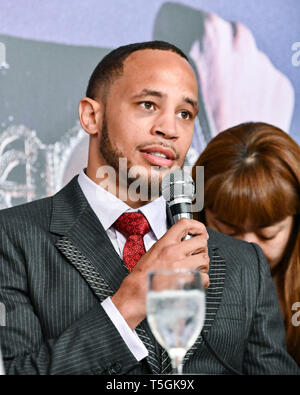Tokyo, Japan. 25th Apr, 2019. WBA middleweight champion Rob Brant of the US speaks at a press conference in Tokyo, Japan, April 25, 2019. Brant will make the second defense of that title against Ryota Murata of Japan on July 12 in Osaka, Japan. Credit: Hiroaki Yamaguchi/AFLO/Alamy Live News - Stock Photo