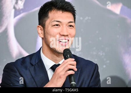 Tokyo, Japan. 25th Apr, 2019. Japan's Ryota Murata speaks at a press conference in Tokyo, Japan, April 25, 2019. Former WBA middleweight champion Murata will fight current title holder Rob Brant, on July 12 in Osaka, Japan. Credit: Hiroaki Yamaguchi/AFLO/Alamy Live News - Stock Photo