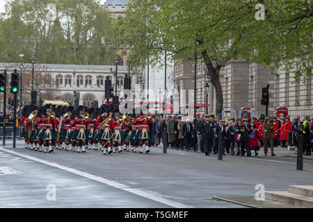 London, United Kingdom. 25 April 2019. London Anzac Day Services. A parade and wreath laying ceremony took pace at The Cenotaph on Whitehall. Credit: Peter Manning/Alamy Live News - Stock Photo
