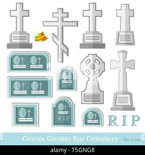 Set of flat grave and crosses different style for cemetery vector illustration