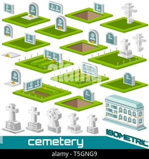 Set of isometric grave and crosses different style for cemetery vector illustration