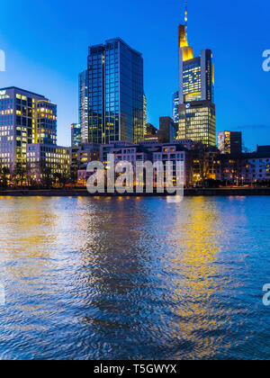 Germany, Hesse, Frankfurt, Sykline, financial district in the evening - Stock Photo