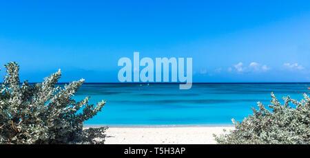Greater Antilles, Grand Turk Island, Cockburn Town, white sand beach - Stock Photo