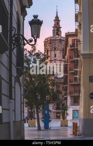 Spain, Valencia, view to El Micalet at sunset - Stock Photo