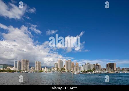 USA, Hawaii, Oahu, Honolulu, Skyline Stock Photo