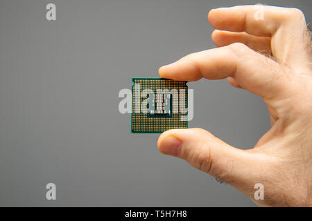 Male hand holding new powerful CPU Central processing unit with high core count and elevated frequency - isolated on gray office background - Stock Photo