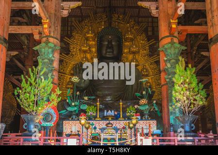 Great Buddha (Daibutsu) in todaiji, nara, japan - Stock Photo
