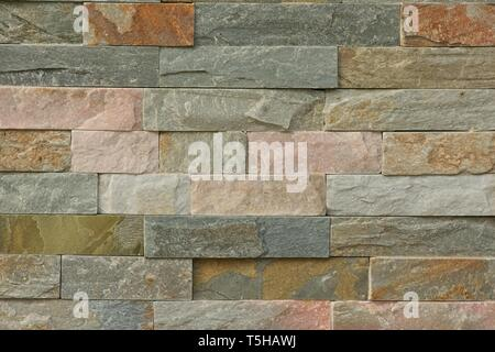 Natural stacked stone cladding wall - Stock Photo