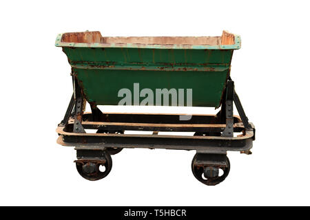 an abandoned vehicle for the carriage of goods,  old mining carriage isolated on white background High resolution image gallery. - Stock Photo