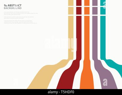 Abstract of colorful wavy line pattern design background. Presenting in vertical lines. illustration vector eps10 - Stock Photo