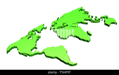 3d world map design with gradient green on white - Stock Photo