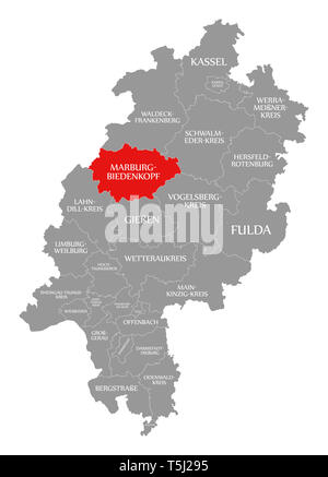 Marburg-Biedenkopf county red highlighted in map of Hessen Germany Stock Photo