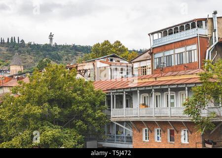 Georgia, Tbilisi, view from the old town to Kartlis Deda monumental statue - Stock Photo