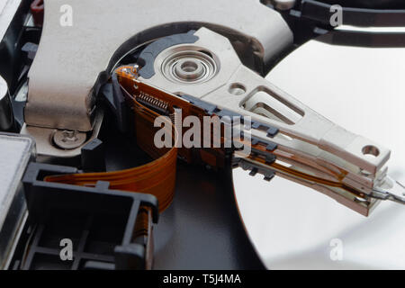 The internal detail of a computer hard drive hdd - Stock Photo