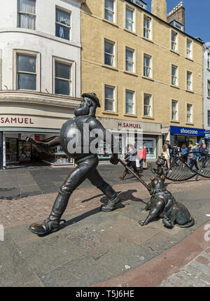 Desperate Dan bronze statue based on the character in british comic magazine The Dandy located in High Street at the City Square Dundee Scotland UK - Stock Photo