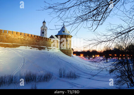 Veliky Novgorod Kremlin and bell tower of St Sophia cathedral in winter night in Veliky Novgorod, Russia, winter night scene - Stock Photo