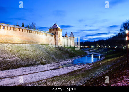 Veliky Novgorod Kremlin towers in Veliky Novgorod, Russia, winter night scene. Landmarks of Veliky Novgorod, Russia - Stock Photo