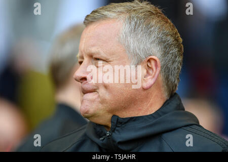 19th April 2019, Bramall Lane, Sheffield, England; Sky Bet Championship, Sheffield United vs Nottingham Forest ; Sheffield United Manager Chris Wilder    Credit: Jon Hobley/News Images  English Football League images are subject to DataCo Licence - Stock Photo