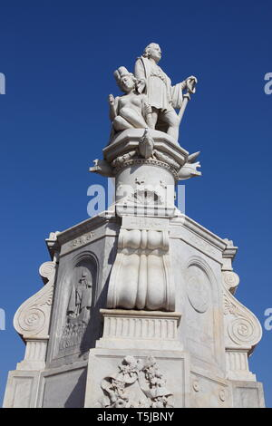 Statue of Christopher Columbus in marble, erected in 1894, in the Plaza de la Aduana in the Historic centre of Cartagena in Colombia - Stock Photo