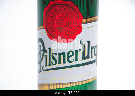 Beer can of Pilsner's Beer green isoalted on white - Stock Photo