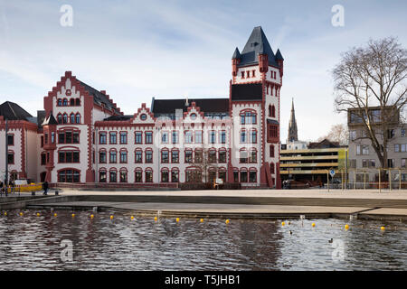 Germany, Dortmund, Hoerde Castle with Lake Phoenix in the foreground - Stock Photo