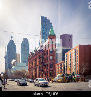 A view of the Gooderham Building (Flatiron Building) with the Financial District in the background. Toronto, Ontario, Canada. - Stock Photo