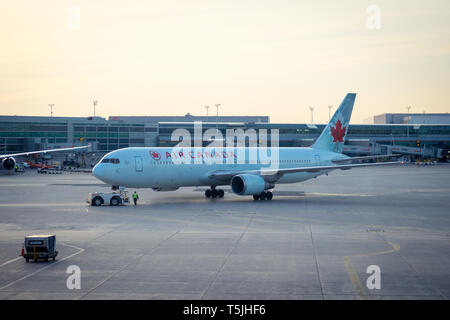 An Air Canada Boeing 767-300ER (763) on the tarmac at Toronto Pearson International Airport (YYZ) in Toronto, Ontario, Canada. - Stock Photo