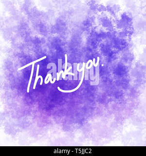 Violet colour background. Illustration of Thanks card. - Stock Photo