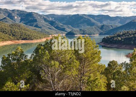 Reservoir and mountain landscape in Cazorla, Jaen. Tranco Beas. Spain - Stock Photo