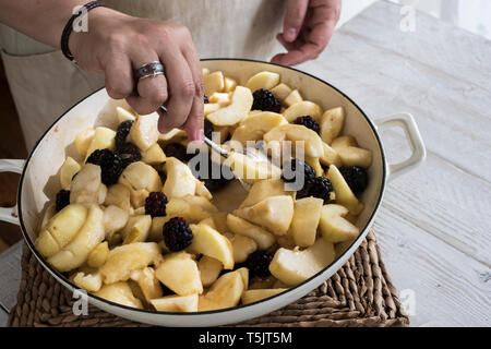 High angle close up of person placing apples and blackberries in a round baking tin. - Stock Photo