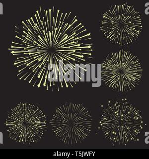 Set of fireworks, part 5, yellow shadow isolated on black background, vector illustration - Stock Photo