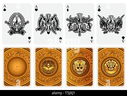 Best set from four card aces with different faces and backs in greece style - Stock Photo