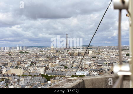 Eiffel Tower and Invalides dome from Notre Dame. Paris, France. - Stock Photo