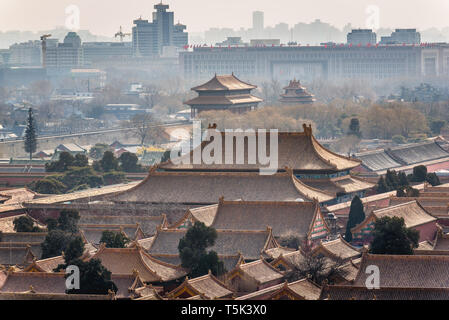 Forbidden City in Beijing, China, view from Jingshan Hill