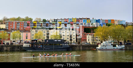 Colourful houses in Clifton Wood, Bristol, on hill overlooking floating harbour - Stock Photo
