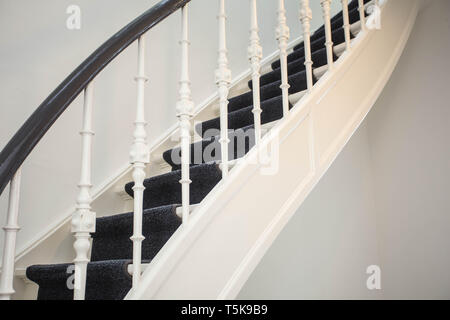 close up of detail wooden stairs in home, Luxury antique stairs - Stock Photo