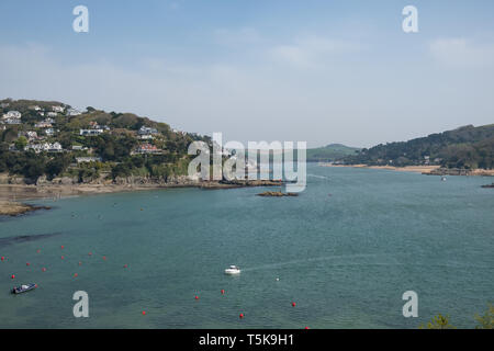 View of the Salcombe estuary looking from Bolt Head towards Salcombe in the South Hams, Devon, UK - Stock Photo