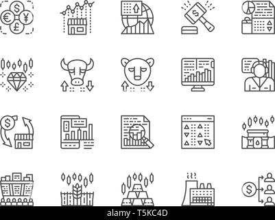 Set of Stock Market Line Icons. Bull and Bear Market, Trader, Dividend and more. - Stock Photo