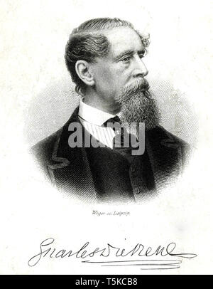 CHARLES DICKENS (1812-1870) English novelist  about 1850 - Stock Photo