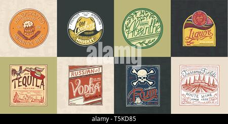 Alcohol Label with calligraphic elements. Vintage American badge. Absinthe Tequila Vodka Liqueur Rum Wine Strong whiskey Beer. Frame for poster banner - Stock Photo