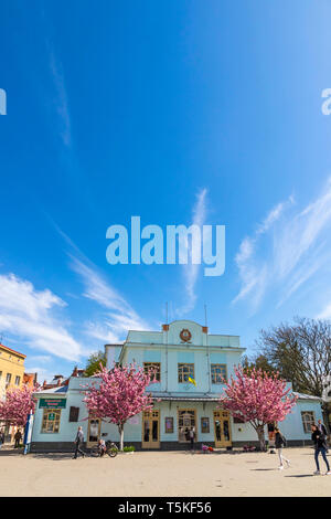 Uzhhorod, Ukraine - April 16, 2019: Facade of Building of Transcarpathian Regional Academic Puppet Theater (also known as Theater 'Bavka') in center o