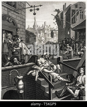 William Hogarth, Gin Lane, engraving, c. 1750 - Stock Photo