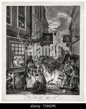 William Hogarth, The Four Times of Day: Night, engraving, 1738 - Stock Photo
