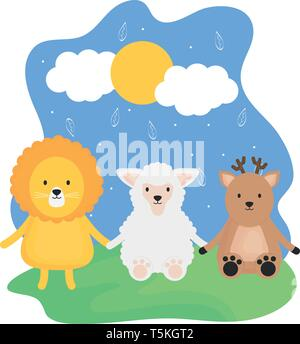cute group animals childish characters vector illustration design - Stock Photo