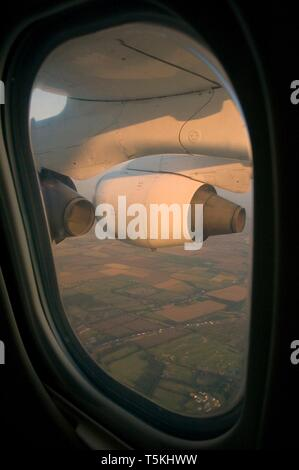 View out of aeroplane window, approaching City Airport, London, England, UK - Stock Photo