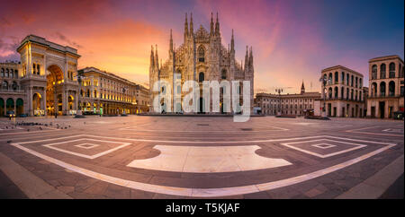 Milan, Italy. Panoramic cityscape image of Milan, Italy with Milan Cathedral during sunrise. - Stock Photo