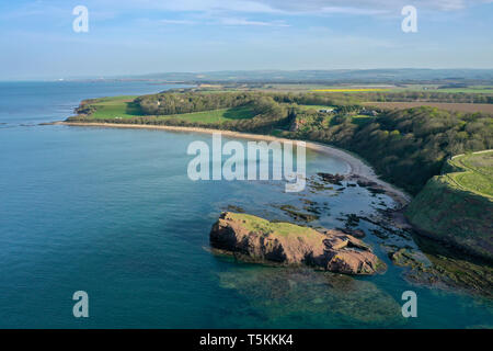 An aerial view of Seacliff beach and the surrounding landscape on a sunny day, North Berwick, East Lothian, Scotland