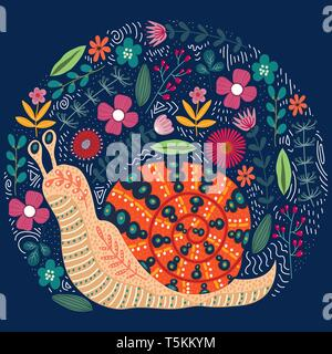 Vector cute illustration of folk snail and flowers on a dark background. - Stock Photo