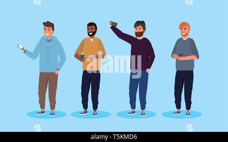 set men friends with hairstyle and smartphone technology vector illustration - Stock Photo